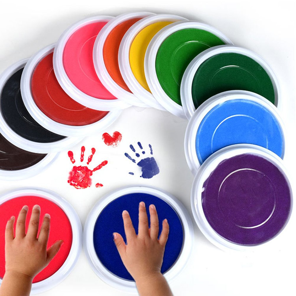 Multicolos Baby Ink Pad for Baby Footprints Handprints Fingerprints Kit,DIY Craft Ink Pad Stamps Pad Partner,Educational Finger Painting Drawing Toys,Perfect Keep Baby Memory Baby Shower Gift