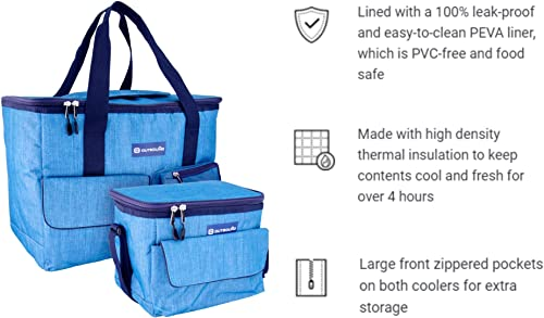 OUTBOUND Soft Cooler Portable 3-Piece Insulated Large 30 Can, Small 6 Can Cooler and Tote Bag for Beach, Camping, and Outdoors Collapsible, Heathered Blue