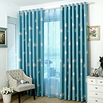 Norbi Clouds Thermal Insulated Treatment Blackout Curtains Drapes