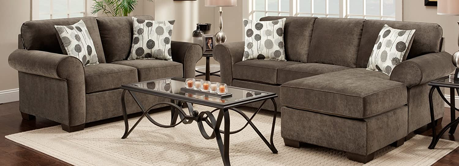 Amazon.com: Roundhill Furniture Fabric Sectional Sofa And Loveseat Set With  Pillows, Elizabeth Ash: Kitchen U0026 Dining