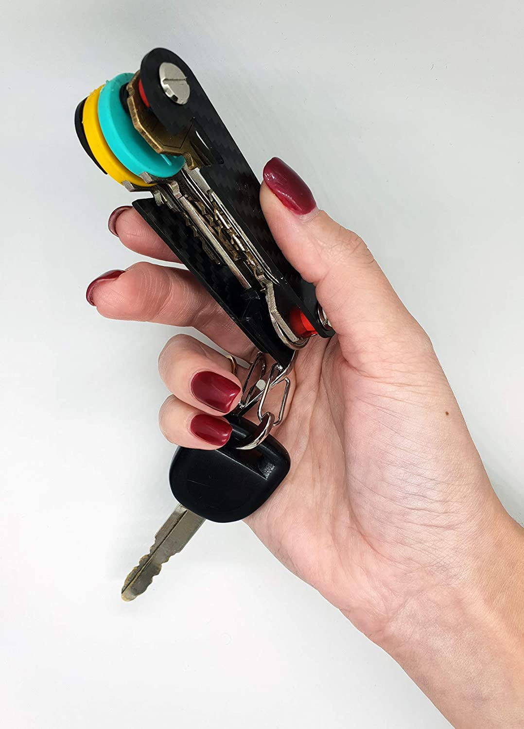 Smart Compact Key Holder Keychain Organizer-carbon fiber For Those Who like to stay Organized Fits all type of keys Up To 18 Tools Comes With Bottle Opener And Carabiner,Ring For Car Fobs