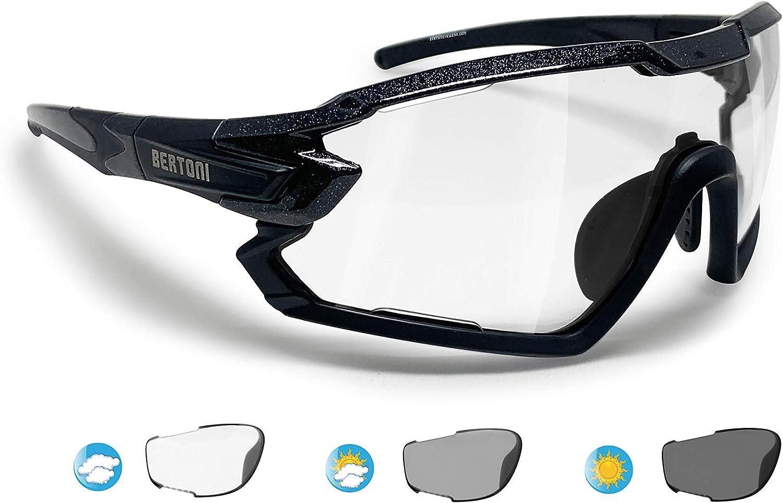 Bertoni Sport Sunglasses Polarized Photochromic Cycling MTB Running Ski Golf Removable Sport Prescription Carrier Included mod. Quasar