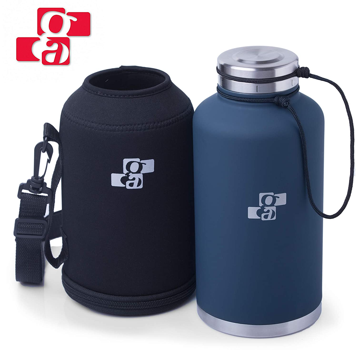GA Beer Growler and Water Bottle 64 oz - Insulated Stainless Steel Vacuum Thermos Water Jug for Hot and Cold Beverages - Dark Blue with Black Neoprene Growler Carrier