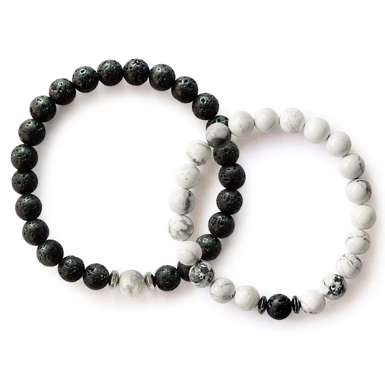 Me&Hz Distance Relationship Bracelets Black White Lava Stone Beads Women Men Friendship Bracelet Set Gifts Lovers by Me&Hz