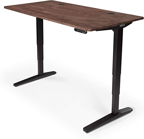 UPLIFT Desk – V2 Dark Brown Rubberwood Solid Wood Desktop Standing Desk, Height Adjustable Frame Black , Advanced Memory Keypad Wire Grommets Black , Bamboo Motion-X Board 80 x 30
