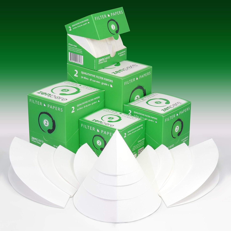 Qualitative Grade 2 ZENPORE Slow Flow 125 mm Pre-Folded 12.5 cm Quadrant-Folded Filter Paper 50 Discs Cones