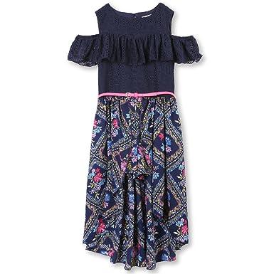 a6d5f7aad641 Amazon.com  Speechless Girls  Big Cold-Shoulder Walk-Through Romper Dress   Clothing