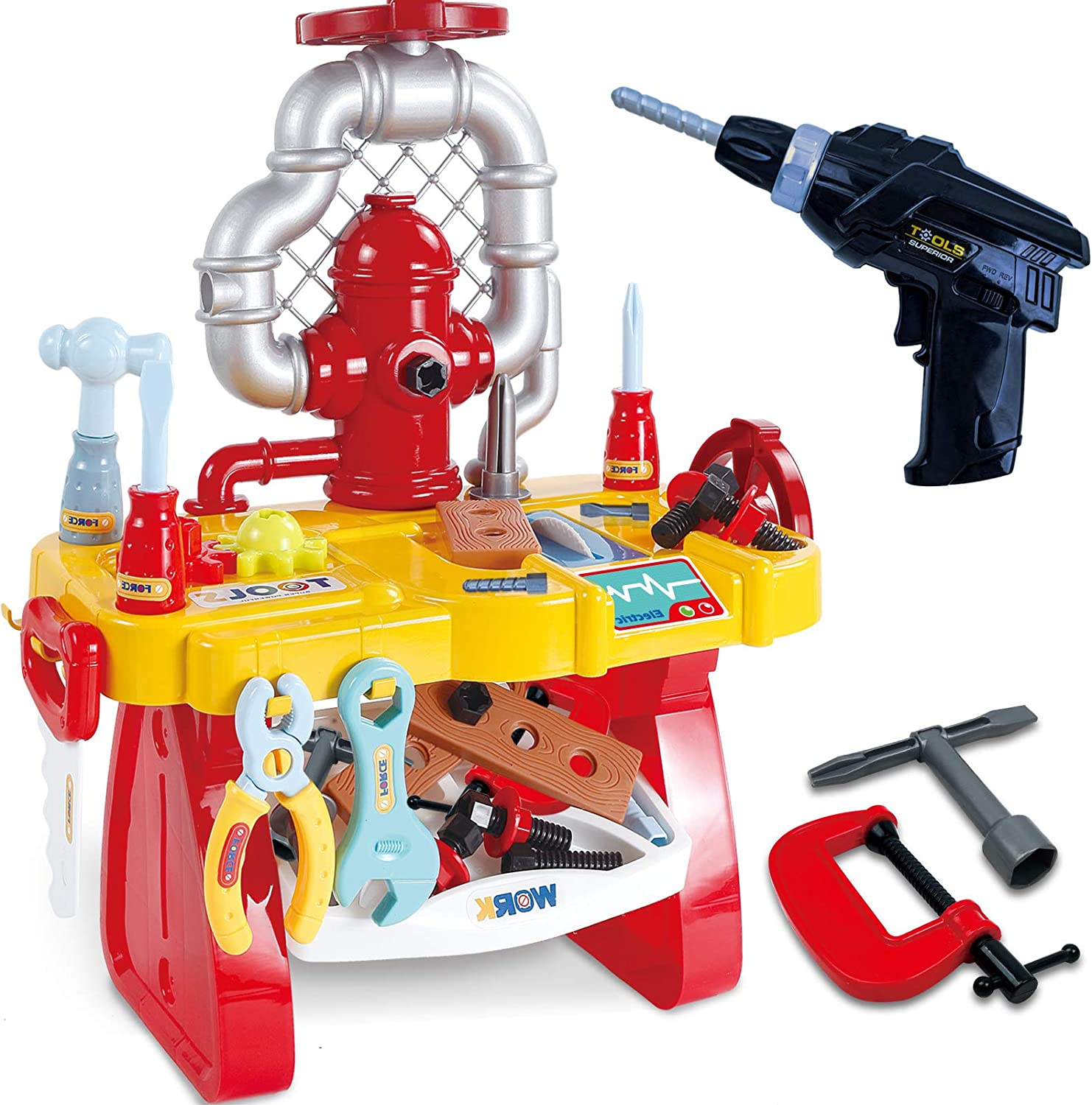 Gifts2U Pretend Play Workbench with Electric Drill, Kids Tool Bench Play Set STEM Building Puzzles Learning Tool Toy Kit for Toddlers Age 2-4 Gifts