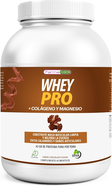 100% Whey Protein con Colágeno y Magnesio | 43Gr. de Proteína Pura por toma 0% Azúcares | Aumenta el crecimiento muscular y tonifica los músculos | Protege y lubrica Articulaciones | 1000g (Chocolate)
