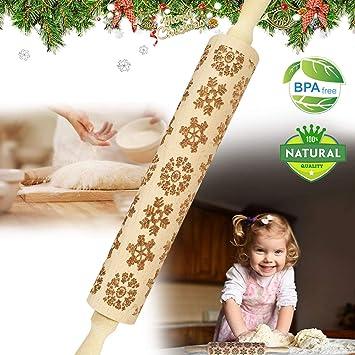 Tuopuda Weihnachten Nudelhölzer Teigrolle für hausgemachtes Gebäck Weihnachten Teigrolle Gravierte Nudelholz Gravierte Teigroller mit Muster Engraved