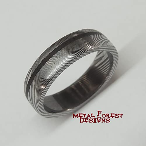 Amazoncom Stainless Damascus Steel Ring with Dinosaur Bone