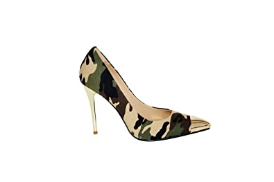 1f305a89f15e4 Women's Camo Pump Stiletto - Gold Toe Cap High Heel - Camouflage Pattern  Material - for Evening, Bridal Party, Wedding, Stilettos for Women's Apparel