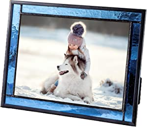 Blue Picture Frame Stained Glass Easel Back 5x7 Photo Display Horizontal Vertical Home Decor Graduation Gift for Women or Men Family Vacation J Devlin Pic 324-57HV