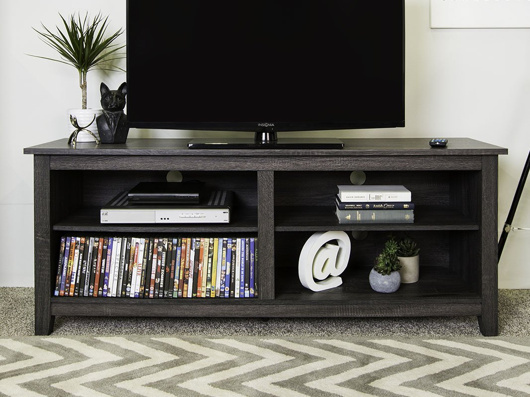 New 58'' Modern TV Stand Console in Charcoal Finish