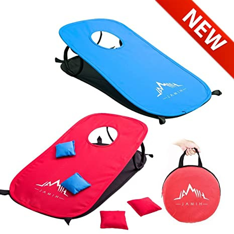 Himal Collapsible Portable Corn Hole Boards With 10 Cornhole Bean Bags And  Tic Tac Toe Game