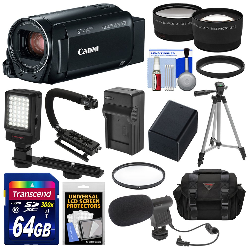 Canon Vixia HF R800 1080p HD Video Camera Camcorder (Black) with 64GB Card + Battery & Charger + Case + Tripod + Stabilizer + LED + Mic + 2 Lens Kit by Canon