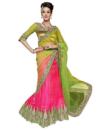 51f3203b482193 Peachmode Women's Delightful Pink - Green Leaf Cut Lehenga Choli: Amazon.in:  Clothing & Accessories