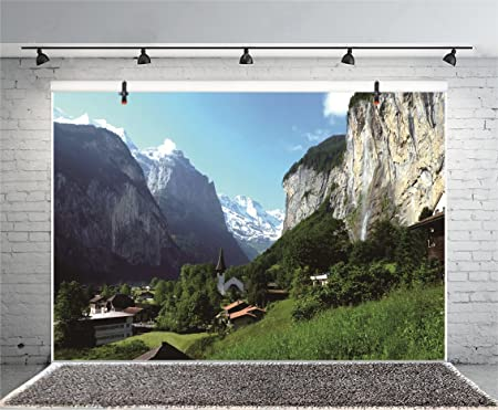 6x4ft Outdoor Travel Mountain Scene Backdrop Wild Scenic Spot Camping Climbing Snow-Covered Mountains Landscape Background for Photography Photo Studio Props