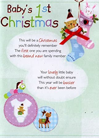 Amazon.com: Del bebé 1st Christmas – Tarjetas de ...