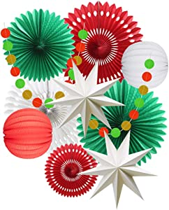 Christmas Party Decoration Set of Hanging Tissue Paper Fans Circle Garland Paper Lanterns for Italian Party Graduation Wedding Birthday Backdrop