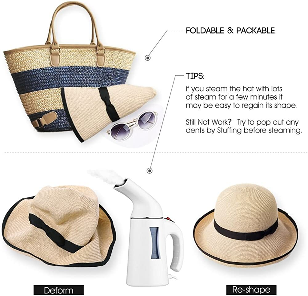 Comhats Ladies Summer Straw Beach Sun Hat Women Floppy Packable Wide Brim Panama Fedora UPF Adjustable
