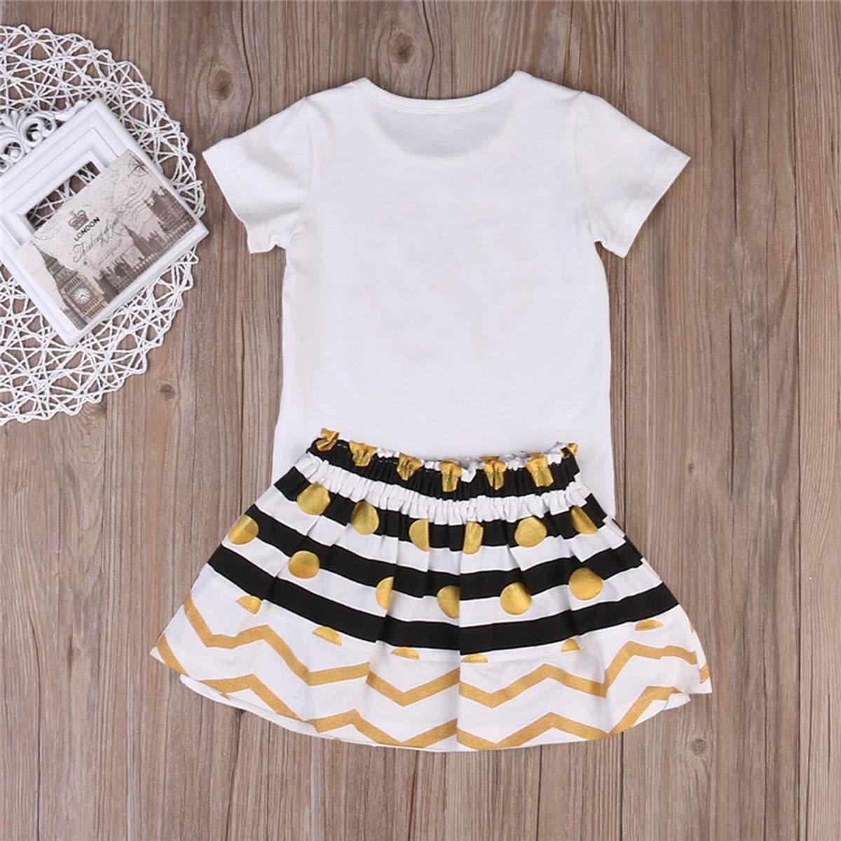 XingYue Direct 2pcs Neonato Pagliaccetto del Bambino del Capretto delle Ragazze del Bambino//Maglietta Vestiti Casuali di Compleanno del Pannello Esterno Messi