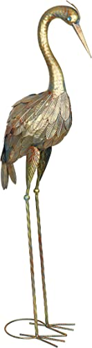 Exhart Metal Heron Garden Statue | Durable Weather Resistant Metal w/Lacquer Coated Bronze Heron Statue