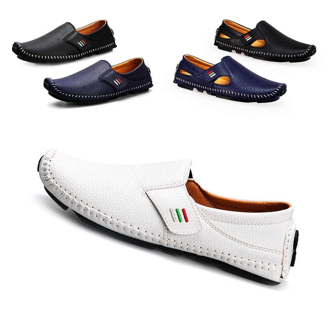 Driving Shoes Men's Penny Loafers Casual Leather Stitched Loafer Shoes(White 44)
