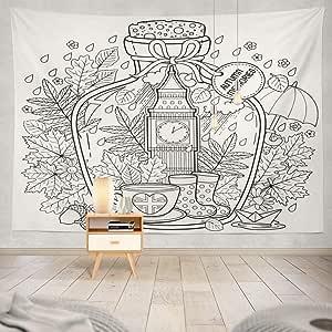 Tapiz de pared Libro para colorear Vaso de vidrio con