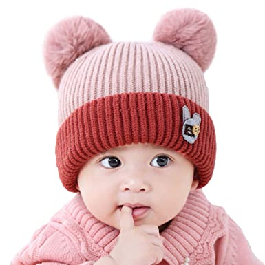 5d1ae31ea74 Baby Toddler Knitted Hat Cute Double Pom Pom Hat Winter Warm Beanie Hat  Boys Girls Kids Wool Plush Ball Newborn Hemming Cap Xmas Gifts   Amazon.co.uk  ...