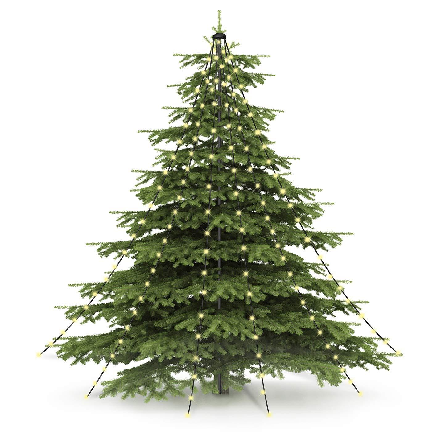 CHRISTmaxx 04273 LED-Lichter-Pyramide | Led Lichterkette für Tannenbaum/Weihnachtsbaum, Fahnenmast oder freistehend | 2 Meter, Indoor & Outdoor, spritzwassergeschützt nach IP44, grün grün DS-Produkte