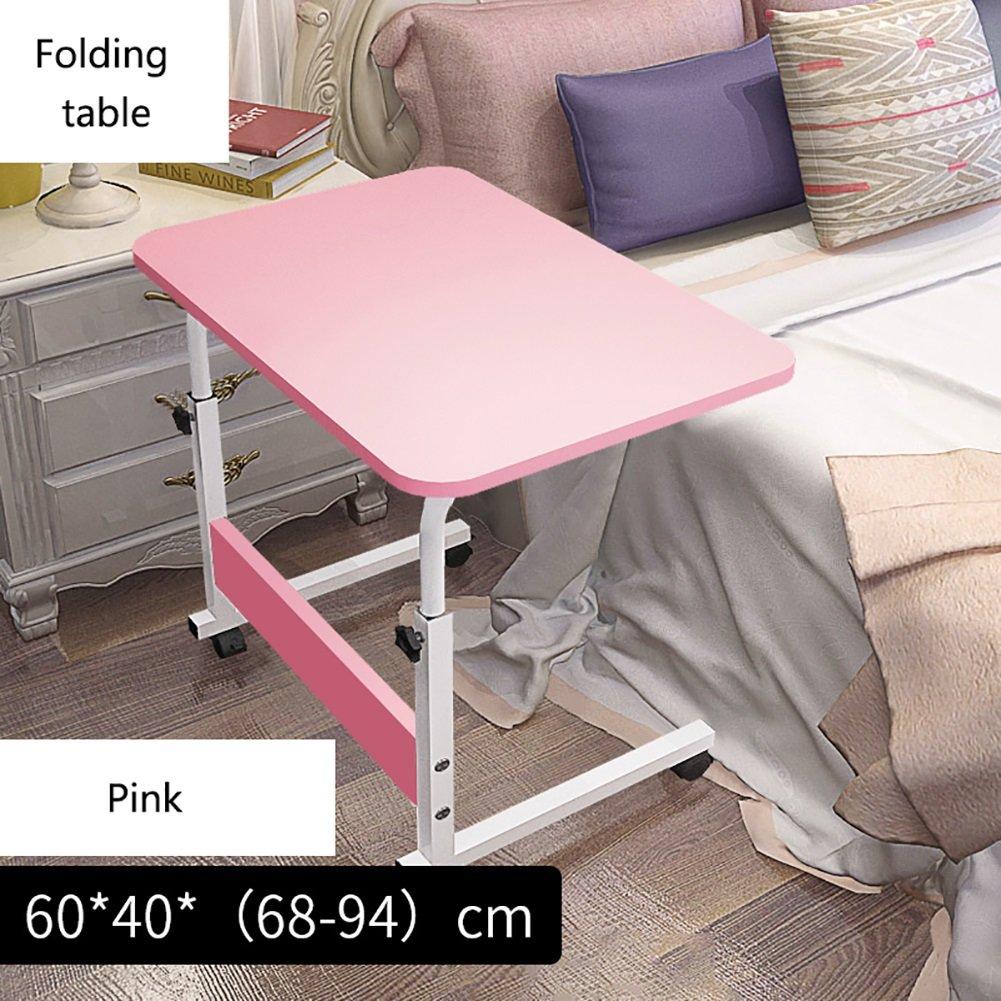 YXX- 調節可能な高さの脚付き木製折り畳みテーブルデスク木製ベッドルーム折り畳み式スクエアコンピュータデスク(車輪付き) (色 : ピンク ぴんく, サイズ さいず : 60*40cm) B07DS3MB24 60*40cm|ピンク ぴんく ピンク ぴんく 60*40cm