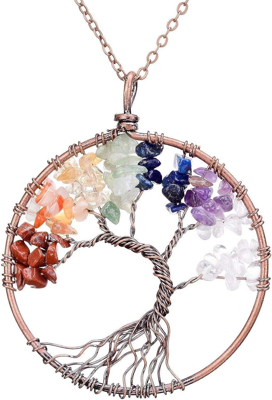 ysister Collar de Mujer, Collar de árbol de la Vida Colgante Vintage de Regalo para el día de la Madre para Mujeres, Colgante de Mujer, Colgante de Cobre, Piedra de Amatista de Chakra