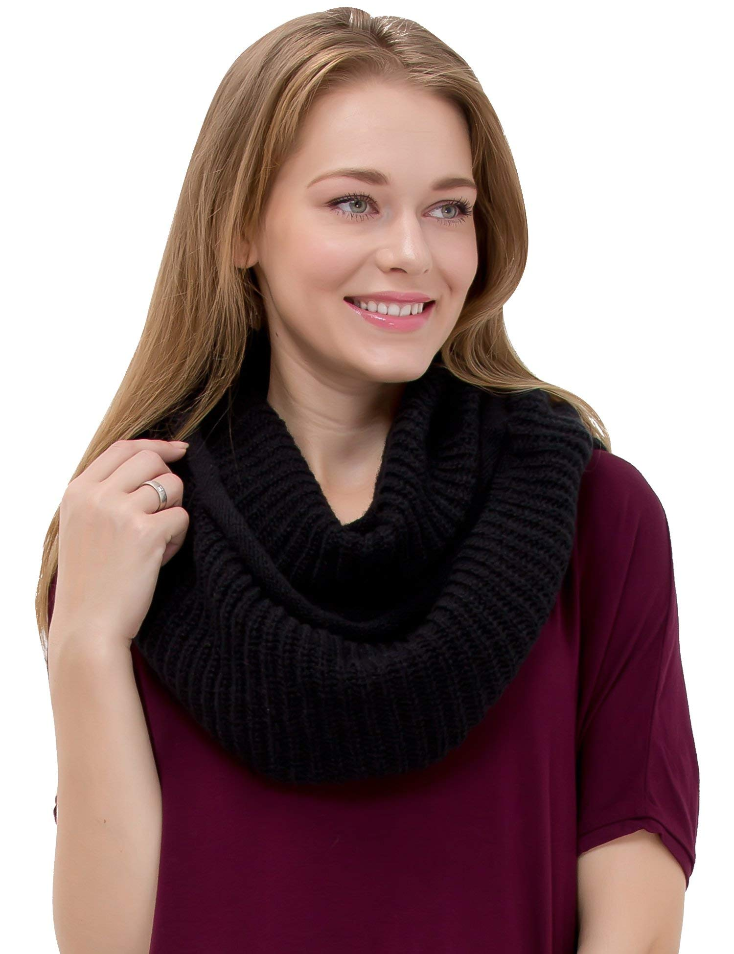 Women's Winter Warm Thick Chunky Rib Knit Infinity Loop Scarf Beauty Gift (black) by Dimore