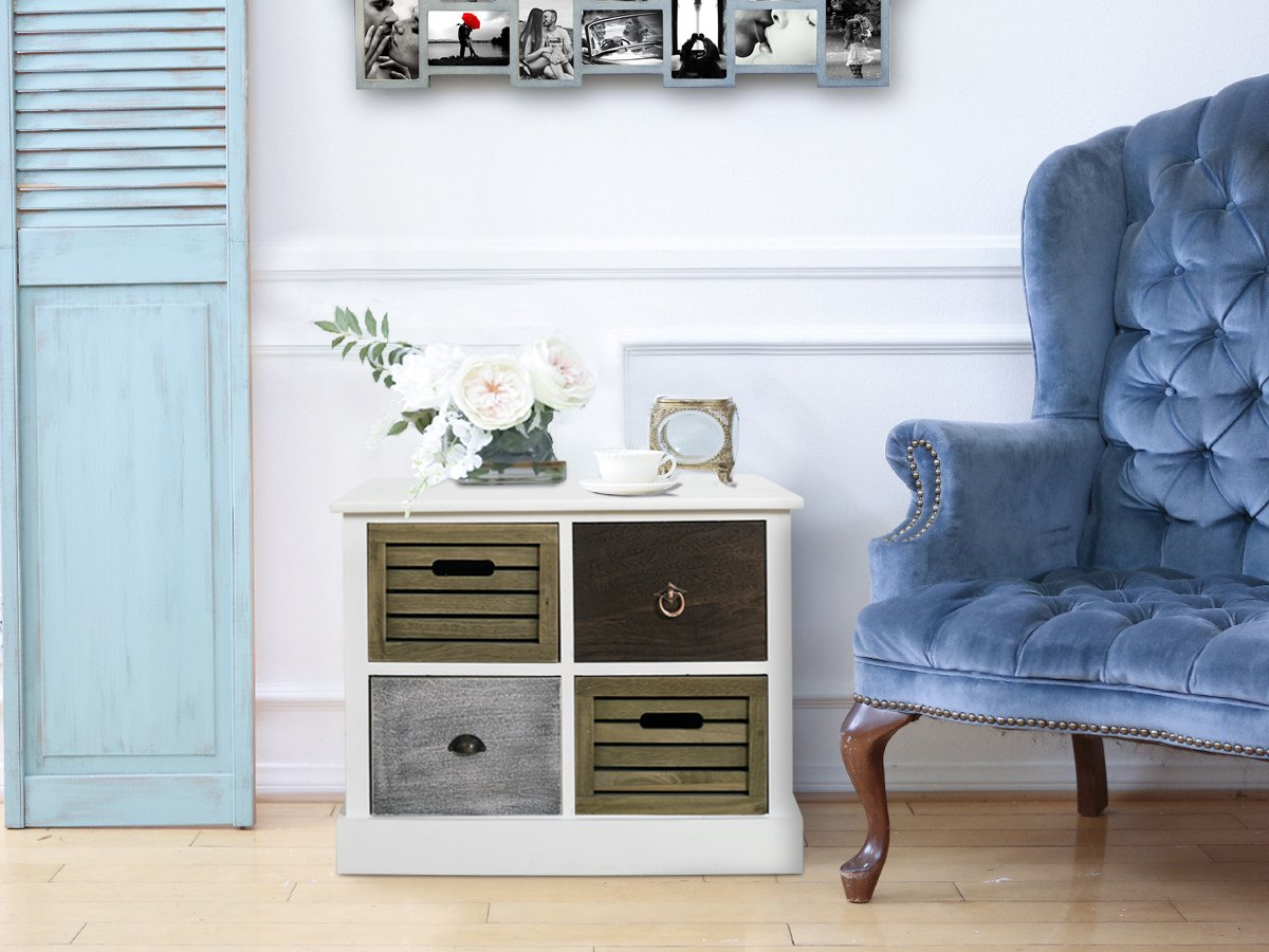 Rebecca mobili mobiletto cassettiera 4 cassetti legno bianco vintage