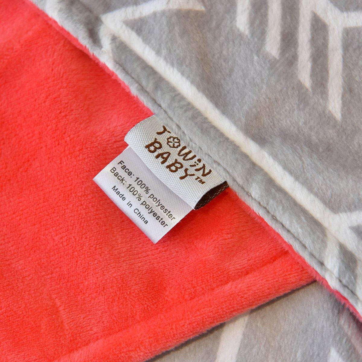 Towin Baby Arrow Minky Double Layer Receiving Blanket, Grey 30