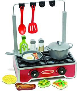 Melissa & Doug 17-Piece Deluxe Wooden Cooktop Set With Wooden Play Food, Durable
