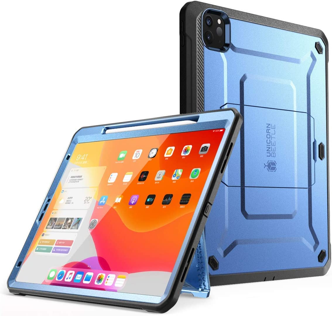 SUPCASE UB Pro Series Case for iPad Pro 12.9 inch 2020 Release, Support Apple Pencil Charging with Built-in Screen Protector Full-Body Rugged Kickstand Protective Case (Slate Blue)