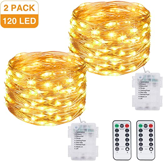 Litogo Luces LED Pilas, Guirnalda Luces Pilas [2 Pack], 12m 120 LED Luces LED Decoracion 8 Modos Impermeable Luces LED Cadena Micro con Función de Temporizador para Decoración Bodas Fiesta de Navidad: