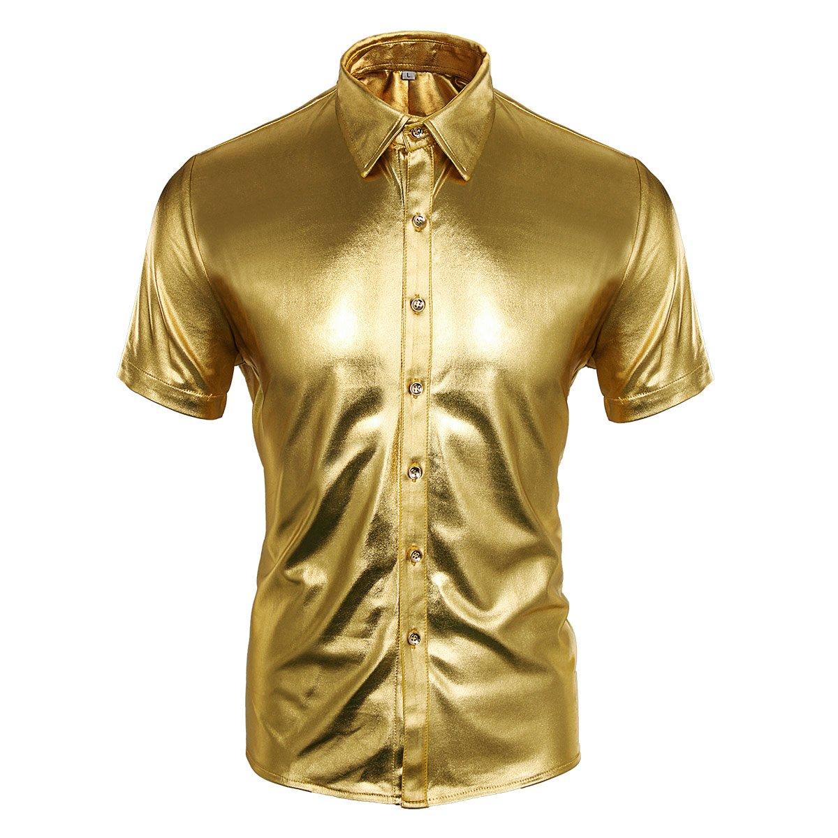 Mens Metallic Shiny Long Sleeve Shirt Grandad Collar Tops Party Show Dance