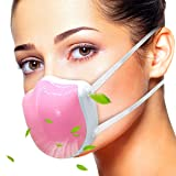 ECOAMOR Dust Mask, Breathing Safety Mouth Face Mask Electric Air Purifying Respirator with HEPA Filter for Woodworking Pollen Allergy PM2.5 Pollution, Reusable and Washable Half Face Mask