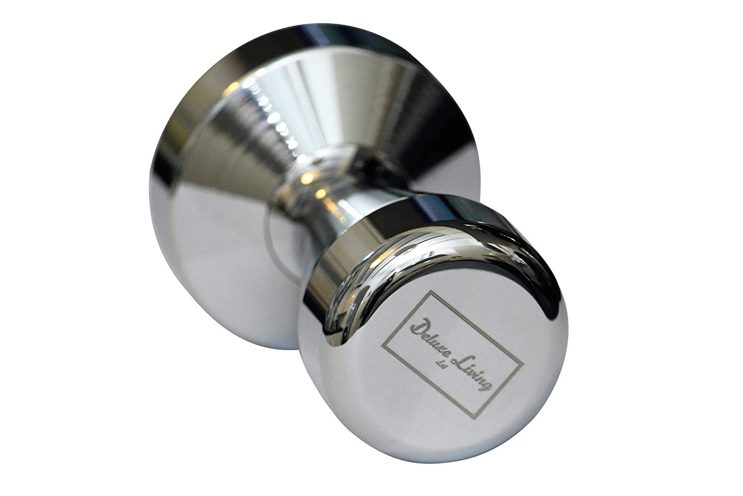 Deluxe Living Ltd - Espresso Coffee Tamper (51mm) - Chrome Plated Solid Stainless Steel Tamper for Coffee and Espresso, Tamping, Barista, Silver Colour