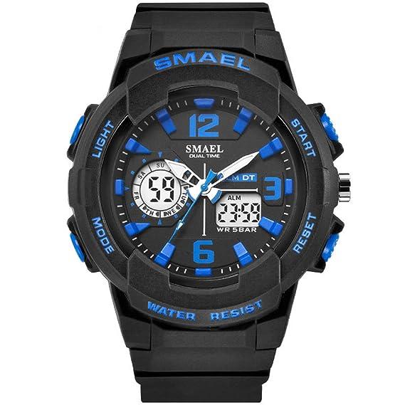 Daesar Reloj Hombre Moda Reloj Deportivo Reloj Multifunción Relojes Electronicos Relojes Unisex Reloj Impermeable Negro Azul: Amazon.es: Relojes