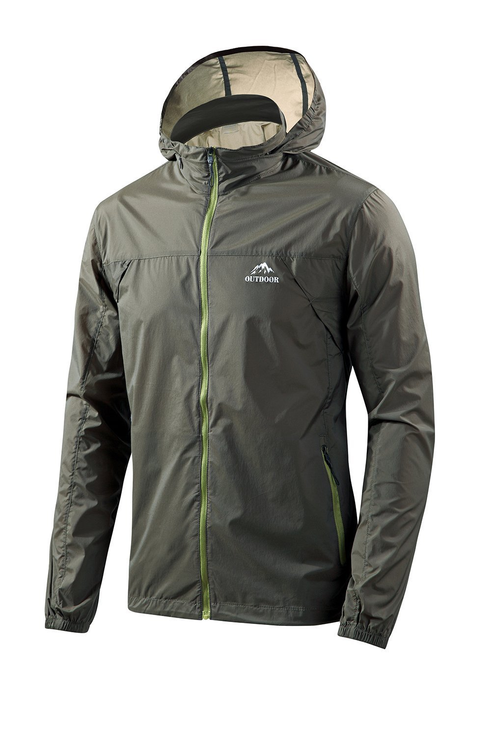 Men's UV Protection Sunscreen Jacket Quick Dry Lightweight Windproof UPF 50+ Sunscreen Clothing for Outdoor (Army Green, X-L)