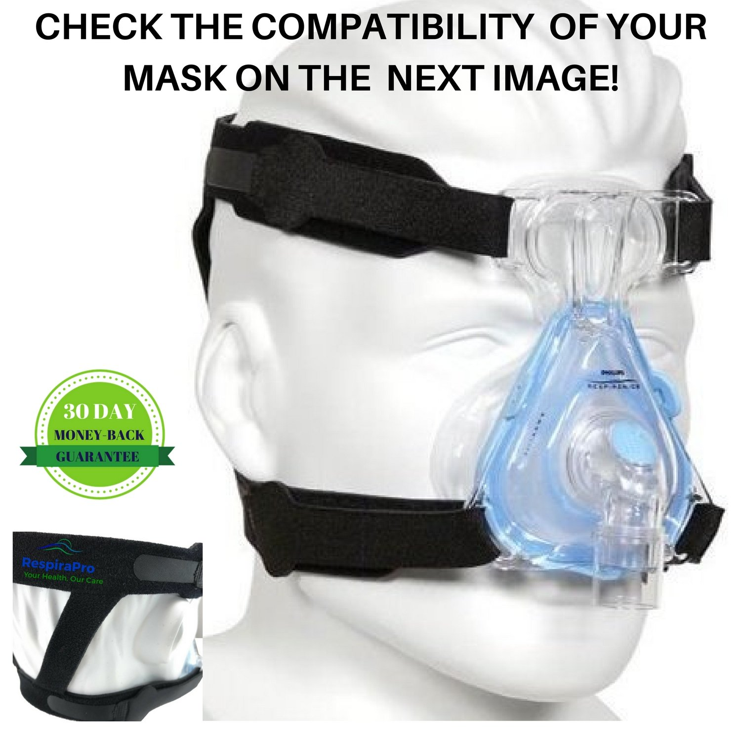 CPAP Headgear Strap Universal ResMed & Respironics Replace Strap - Ultimate Comfort & Perfect Fit - for Most CPAP/BIPAP Full Face & Nasal Apnea Masks *Headgear Only, No Mask and Clips Included*