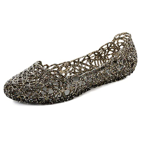 a95d32e378be FEETCITY Women s Bird Nest Jelly Ballet Flats Black 5.5 B(M) US