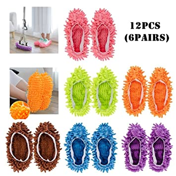F-BBKO Mop Slippers Shoes Cover 12pcs (6 Pairs) Soft Washable Reusable Microfiber