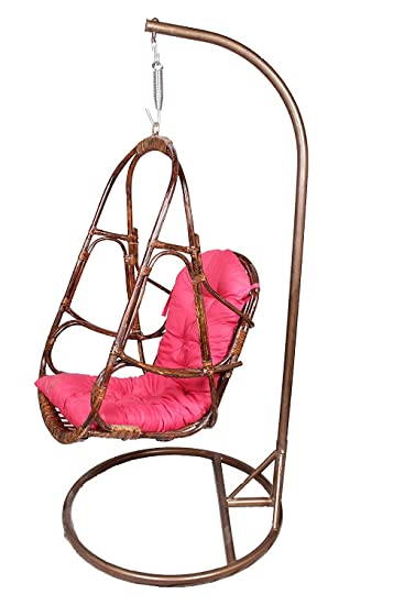IRA Metal Stand With Cane Rattan Swing And Cushion