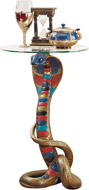 Design Toscano Renenutet Egyptian Cobra Snake Goddess Side End Table 62 cm Polyresin with Glass Top