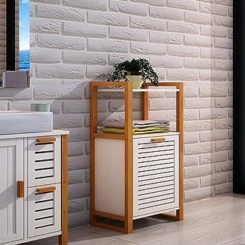 Style Home Badschrank Mit Wäschekorb Platzsparend Bambusholz Weiß Sh30m11013 Wie